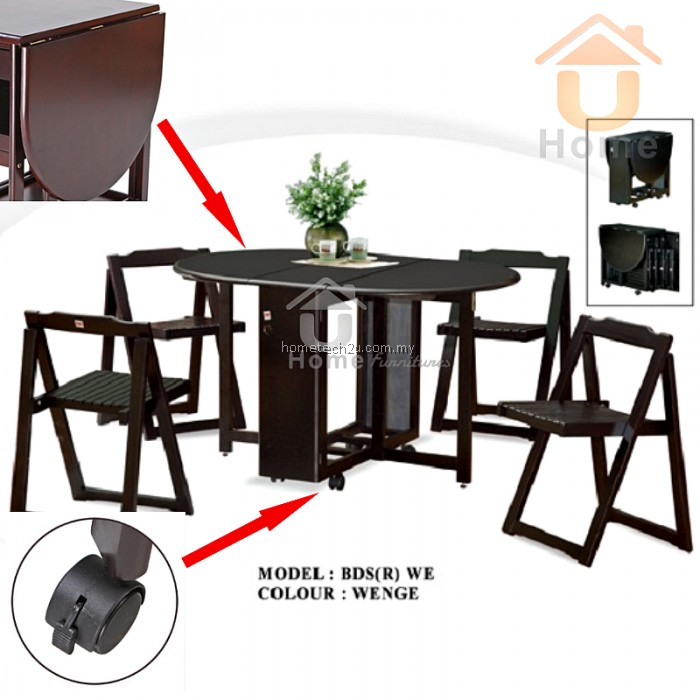 Butterfly Wooden Foldable Dining Table And 4 Folding  : butterfly foldable dining set table chair save space easy storage uhome 8 700x700 from www.hometech2u.com.my size 700 x 700 jpeg 81kB