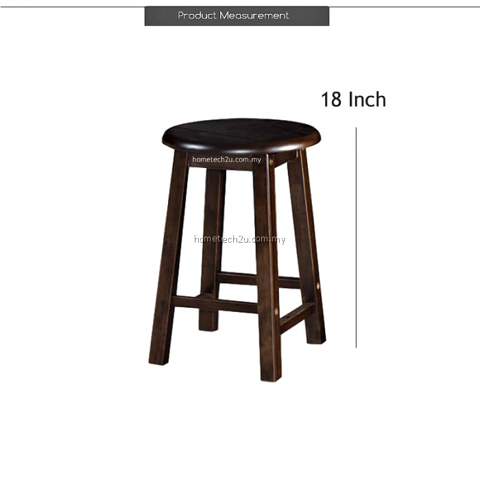 UHome 18 Inch Rounded Wooden Bar Stool Chair For Coffee