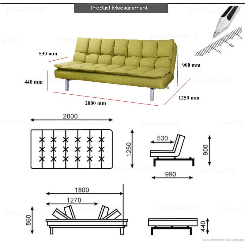 Santillo queen size fabric sofa bed end 8 5 2019 11 11 pm for Sofa bed penang