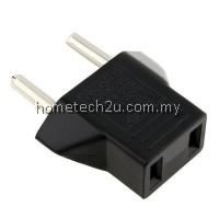 Hometech2u US to 2 Pin EU German AC Travel Power Adapter Plug Converter Black