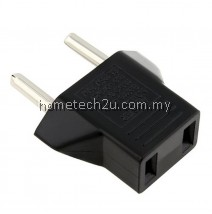 Hometech2u US to 2 Pin EU German AC Travel Power Adapter Plug Converter Black