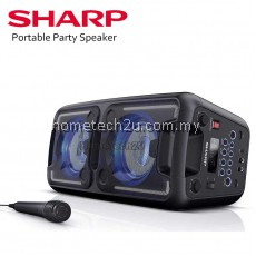 Sharp PS-920 150W High Power Portable Party Speaker with Built-in Rechargeable Battery, Disco Lights, Bluetooth, FM Radio, USB Playback & Microphone - Black