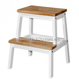 Wooden Step Stool Chair (2 Steps) - Natural White