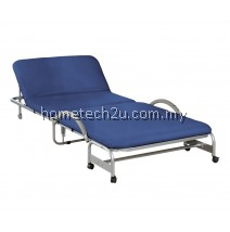 Single Size Foldable Bed With Head Reclining Function For Guest - Navy Blue