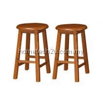 x 2units UHome 18 Inch Rounded Wooden Bar Stool Chair (Oak)