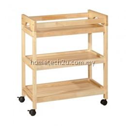 Restaurant Hotel Room Drink Car Wood Drink Trolley Wooden Bar Wine Trolley Wheel - Natural