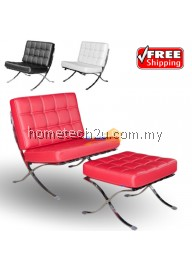 Straight-Lined Red Stylish Chair with Pouf (Free Shipping)