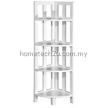 Zen 4 Shelf Corner Rack Bookcase White