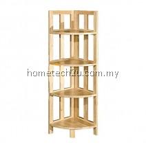 Zen 4 Shelf Corner Rack Bookcase Natural