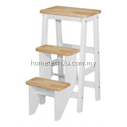 Folding Step Stool Chair Natural/White Color