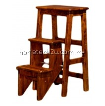 Folding Step Stool Chair Oak Color