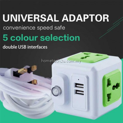 Universal Standard Magic Cube Socket 110-250V 10A 4 Outlets With 2 USB Ports 5V 2A Adapter Extension Cable 2m 2500W Home