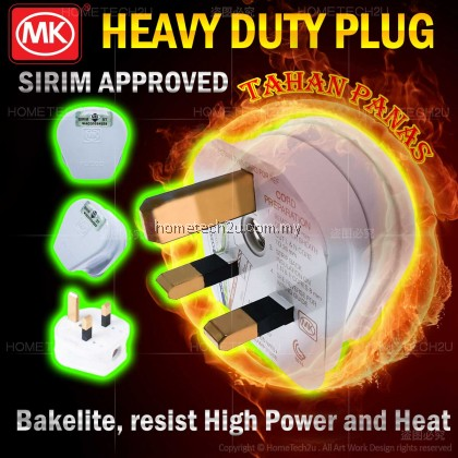 High Quality MK Heavy Duty Bakelite 13Amp Fused 3 Pin Plug Top Sirim Approved for Oven, Water Heater, Kettle, Washing Machine, Refrigerator, Freezer