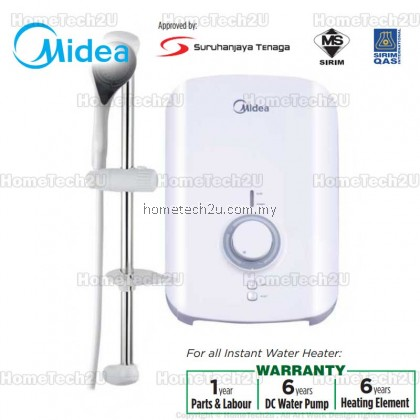 Midea Water Heater Home Shower + 6yrs Heating Element Warranty MWH-38V / MWH-38VWT / MWH-38VBK