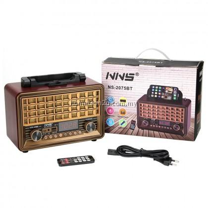 NNS Classic Radio FM NS-2075BT Retro Vintage Bluetooth AUX Radio Speaker Music Player Antique Radio