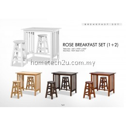 Rose Breakfast Table Set With 2 Stools (1+2)