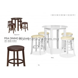 Pisa Rounded Dining Table With Stools Set 1+4