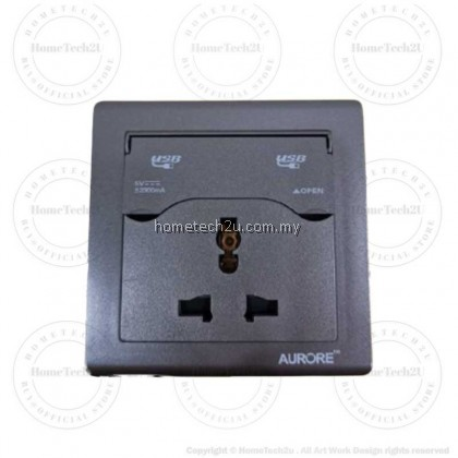 AURORE 13A Universal 3 Pin Wall Switch Socket With 5v 2.3A Dual USB Charging Port LED Indicator