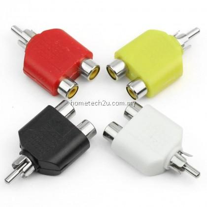 RCA jack Y Splitter AV Audio Video Plug Adapter 1 Male to 2 Female Converter