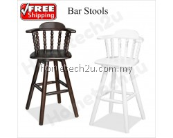 "29"" Swivel Wooden Bar Stool With Backrest"