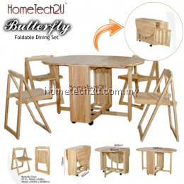 Butterfly Wooden Foldable Dining Table And 4 Folding Chairs Dining Set 1+4