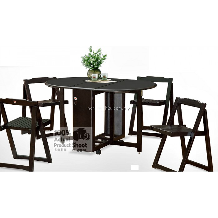 butterfly wooden foldable dining table and 4 folding chairs dining set 1 4. Black Bedroom Furniture Sets. Home Design Ideas