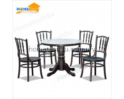 Traditional Coffee Shop Restaurant Rounded Dining Table With Mable Top 1+4