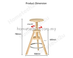 Swivel Adjustable Height Wooden Bar Stool Chair Solid Rubber Wood