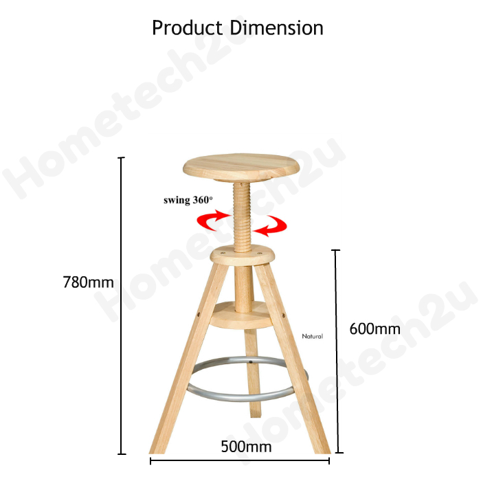 Swivel Adjustable Height Wooden Bar Stool Solid Rubber Wood