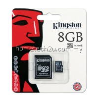 Kingston 8Gb Micro SDHC Class 4 Flash Memory Card With Adapter