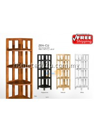 Zen 4 Shelf Corner Rack Bookcase Book Cabinet