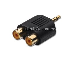 Gold-plated 3.5mm Stereo Plug to 2 RCA Female Connector Adapter