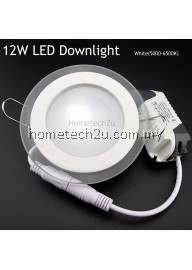 12w Led Ceiling Recessed Grid Downlight Slim Round Panel Light Glass Surface - White