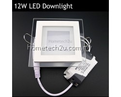12w Led Ceiling Recessed Grid Downlight Slim Square Panel Light Glass Surface - White