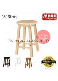 UHome 18 Inch Rounded Wooden Bar Stool Chair For Coffee Shop Restaurant