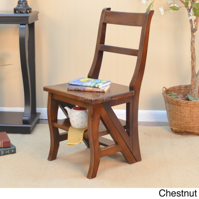 Step Ladder Chair Solid Wood Folding Stool Library Oak