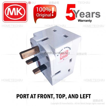 MK 13A Heavy Duty 3 Way Adaptor Three Extension Socket Plug Adapter with Sirim Approved