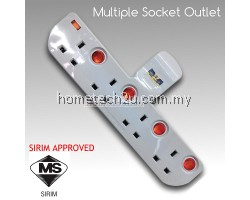 UK T Way Adaptor Adaport Multiple Wall Socket Power Outlet Extension