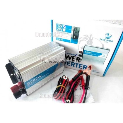 Lon Sam Car Power Inverter 500 Watt DC 12V to AC 220V +USB 5V