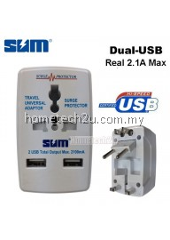 SUM Universal Travel Adapter With Dual USB 2100mA