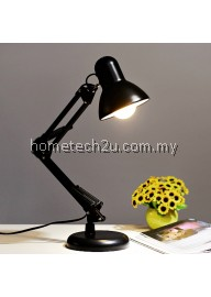 Metal Adjustable Arm Work Office Desk Lamp Table Lamp (Black)