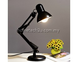 Metal Adjustable Arm Work Office Desk Lamp Table Lamp (Black)