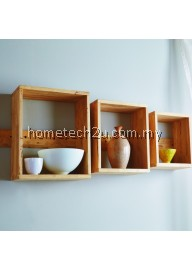 Fancy Square Wooden Wall Living Room Decor Shelf (Set of 3)