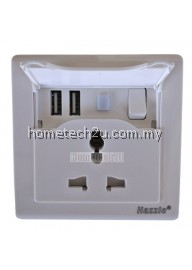 Hazzle Universal Wall Power Swtich Socket with Dual 2 USB Ports 2300mA