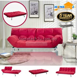 Clo Contemporary 3 Seater Fabric Sofa Bed - Red