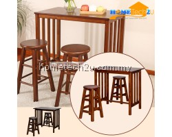 France Wooden Breakfast Dining Set Table + 2 Stool