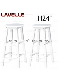"2 Units 24"" LAVELLE Grade A Rounded Wooden Bar Stool"