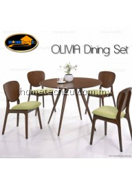 OLIVIA Modern Rounded Wooden Dining Set (1+4)