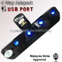 T Way Adaport with USB Port Surge Protector Wall Socket Power Outlet Extension