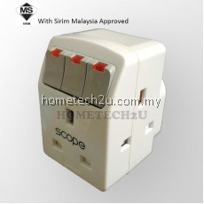 SCOPE 13A 3 Three Way Adaptor With Neon Switch (Sirim Approved)